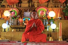 A monk praying Royalty Free Stock Image