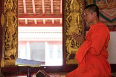 A monk praying in Laos temple Stock Photos