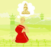 Monk prays Royalty Free Stock Photography