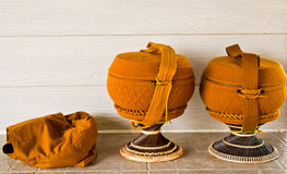 Monk's alms bowl with  crochet overlay and kitbag Royalty Free Stock Photography