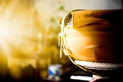 Monk`s alms bowl. Budism bowl for foot and water in side royalty free stock photos
