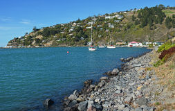 Monk's Bay & Redcliffs with Christchurch Yacht Club in backgroun Royalty Free Stock Photo