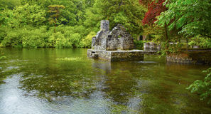 Monk's fishing house at Cong Abbey. Panorama of Monk's fishing house at Cong Abbey on a rainy day, Ireland stock photo