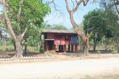 Monk`s resident near temple in Burma stock image