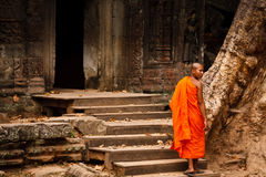 Monk in saffron robes  at Angkor Wat Royalty Free Stock Image