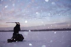 Monk samurai in winter field Royalty Free Stock Image