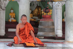 Monk in Schwedagon pagoda, Yangoon Stock Images