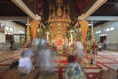 Monk Sculpture in the  Wang Wiwekaram temple. Royalty Free Stock Photo