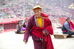 Monk in the Sertar buddhish college Royalty Free Stock Image