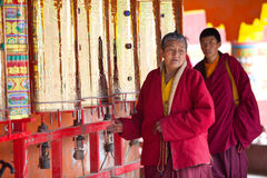 Monk in the Sertar buddhish college Stock Photos