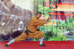 Monk of Shaolin temple performs wushu at Po Lin monastery in Hong Kong, China. Stock Photos