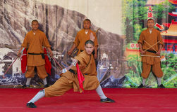 Monk of Shaolin temple performs wushu at Po Lin monastery in Hong Kong, China. Royalty Free Stock Photography