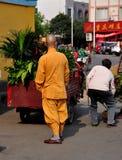 Pengzhou, China: Monk on Street Royalty Free Stock Image