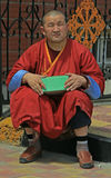Monk is sitting nearly buddhist temple Stock Image