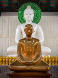 Monk statue and Buddha statue meditation Royalty Free Stock Photography