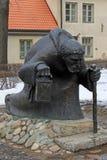 Monk statue in CESIS, LATVIA Stock Photo