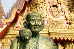 A monk statue  in Wat Mahaeyong Buddhism Temple in Stock Image