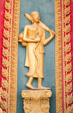 Monk stucco sculpture decorate for temple wall Royalty Free Stock Photos