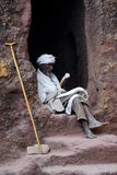 Monk Studying. Ethiopian monk in the rock hewn churches of Lalibela studying the holy script Stock Photography