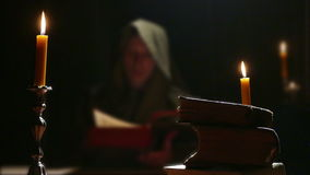 Monk Studying Old Religious Books stock footage