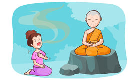 Monk take meditate and the women talkative Royalty Free Stock Photos
