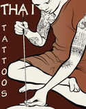 Monk tattooist - Thai Tattoos Stock Images