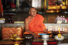 Monk in temple Royalty Free Stock Image