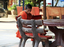 Monk in temple Stock Images