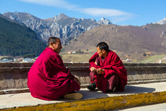 Monk in temple Royalty Free Stock Images