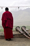 Monk at Thiksey monastery Stock Images