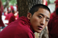 Monk in Tibet Stock Image
