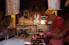 monk tibet Arkivbilder