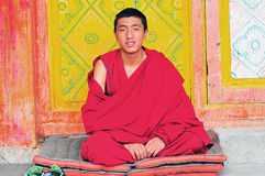 Monk in Tibet Stock Image