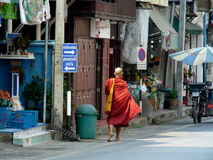 Monk in town of Mae Sariang, Thailand. Mae Sariang is a little town in Northeast Thailand.  It's located near the Myanmar border.  I toured the little town by Stock Images