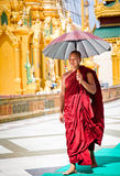 Monk with umbrella Royalty Free Stock Photos