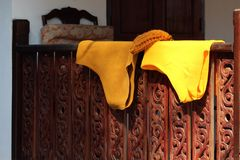 Monk undergarments Luang Prabang Laos. Saffron monk undergarments drying a Luang Prabang Laos Royalty Free Stock Photo