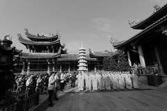 Monk and volunteer gathering in nanputuo temple royalty free stock images