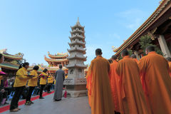 Monk and volunteer gathering in nanputuo temple in the morning Stock Image