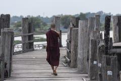 Old U Bein bridge, made of teak wood, Amarapura. Myanmar stock photo