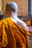 Monk. Walking inside a temple in Thailand Stock Image