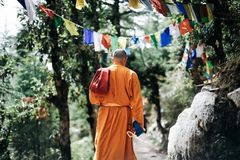 Monk Walking Near Buntings during Day Royalty Free Stock Images