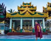 Monk walking to pray Stock Photography