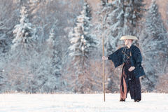 Monk warrior among snow forest Royalty Free Stock Photo