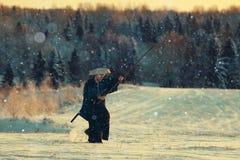 Monk warrior in winter Stock Image