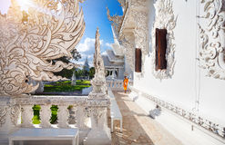 Monk in White Temple in Chiang Rai Stock Photography