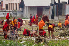 Monk is Working on Construction  at Nyaung Shwe   in Myanmar (Bu Royalty Free Stock Images