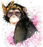 Monkey графики футболки, иллюстрация шимпанзе обезьяны с предпосылкой выплеска текстурированной акварелью