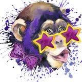 Monkey графики футболки шимпанзе, иллюстрация шимпанзе обезьяны с предпосылкой выплеска текстурированной акварелью вода иллюстрац иллюстрация штока