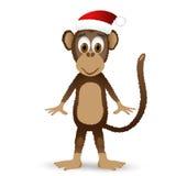 Monkey при шляпа santa изолированная на белой предпосылке Стоковое Изображение RF