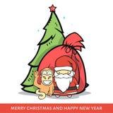 Monkey с Санта Клаусом, елью, сумкой в стиле doodle Стоковые Фотографии RF